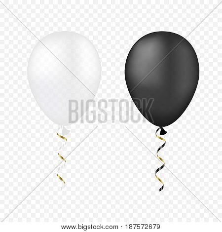 Vector white and black bunche balloons on a transparent background. 3d realistic happy holidays flying air helium balloons. Party decorations for birthday wedding design.