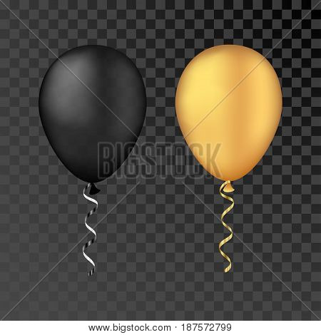 Vector gold and black bunche balloons on a transparent background. 3d realistic happy holidays flying air helium balloons. Party decorations for birthday wedding design.