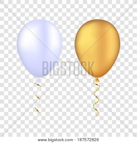 Vector White And Gold Balloons On A Transparent Background. 3D Realistic Happy Holidays Flying Air H