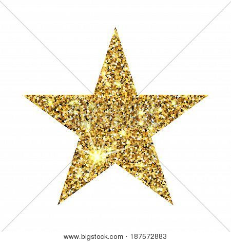 Gold Glitter Vector Star. Golden Sparcle. Amber Particles. Luxury Design Element.
