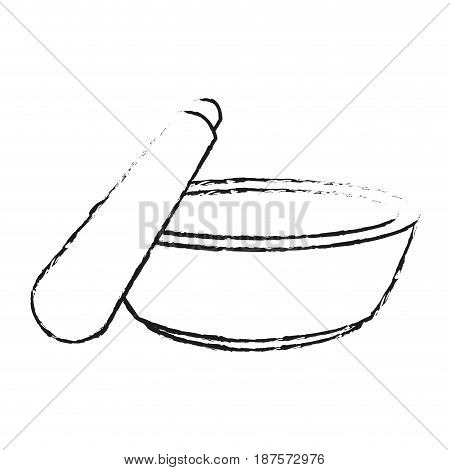 monochrome blurred silhouette with bowl and spatula for beauty treatment vector illustration