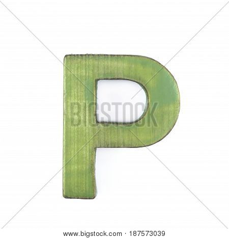 Single sawn wooden letter P symbol coated with paint isolated over the white background