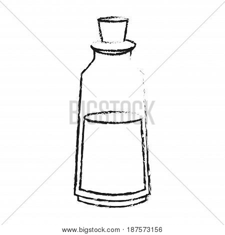 monochrome blurred silhouette with body care lotion bottle vector illustration