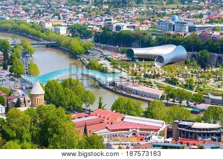 Tbilisi, Georgia aerial skyline with river, bridge and old traditional houses