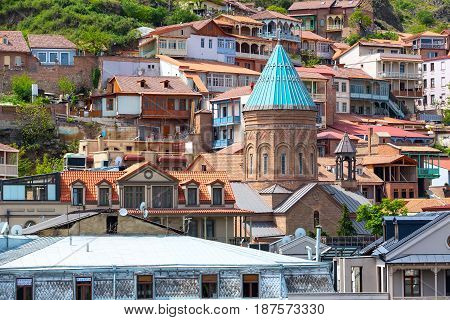 aerial view with houses with traditional wooden carving balconies of Old Town of Tbilisi, Republic of Georgia