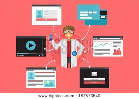 Web Life of Scientist with bulb and magnifier from video blog social networks online shopping and email. Graphic user interface and web pages forms and elements. Vector
