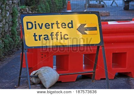 diversion sign for roadworks in a street