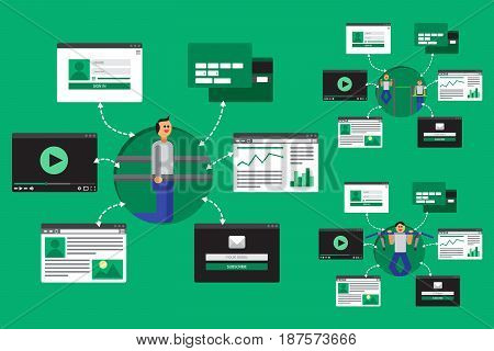 Web Life of Sport Woman and Fitnes Girl from video blog social networks online shopping and email. Graphic user interface and web pages forms and elements. Vector