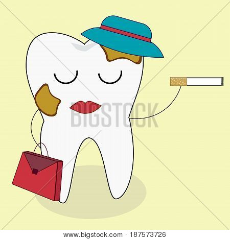 Tooth and cigarette characters. Vector flat cartoon