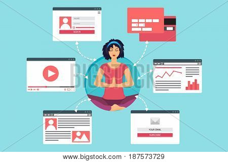Web Life of Woman in meditation from video blog social networks online shopping and email. Graphic user interface and web pages forms and elements. Vector