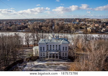 View from the top of the Bogoroditsky Palace, manor estate of earl Bobrinsky, Tula region, Russua