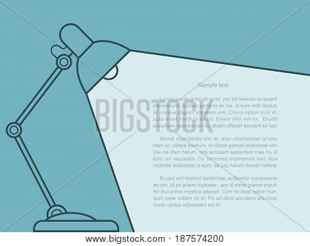 table lamp in line style. flat lamps with light аnd place for text vector illustration.
