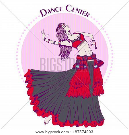 Color vector illustration of young girl dancing tribal belly dance on color background. Dance Icon. Design for flyers, magazines and commercial banners. Series of dancing men and dance accessories.