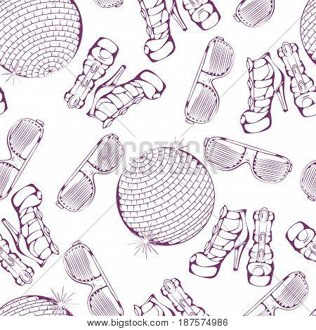 Seamless pattern of club dance accessories on white background. Vector illustration. Design for flyers, magazines and commercial banners.