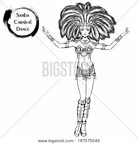 Vector illustration of young girl dancing samba on white background. Dance Icon. Design for flyers, magazines and commercial banners. Series of dancing men and dance accessories.