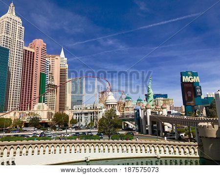 View of Las Vegas hotels, New York New York.