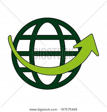 white background with globe earth with parallels and meridians vector illustration