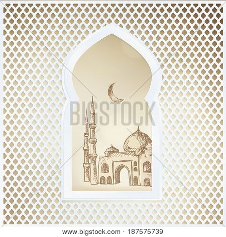 Arabic window with the hand drawn sketch of moon and the mosque. Greeting card, invitation for Muslim community holy month Ramadan Kareem, vector illustration background.