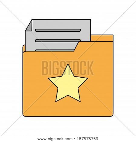 white background with folder and files sheet vector illustration