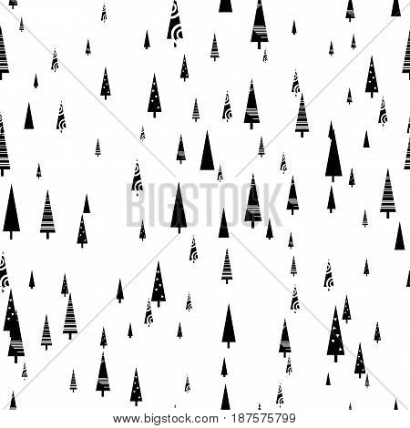 Seamless fir-tree scandinavian pattern. Textile background. Wrapping texture. Stock vector.