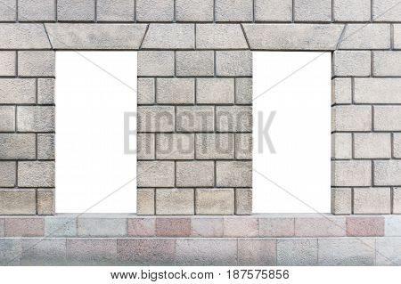 Two vertical mock up of store blank showcase window in the classical building