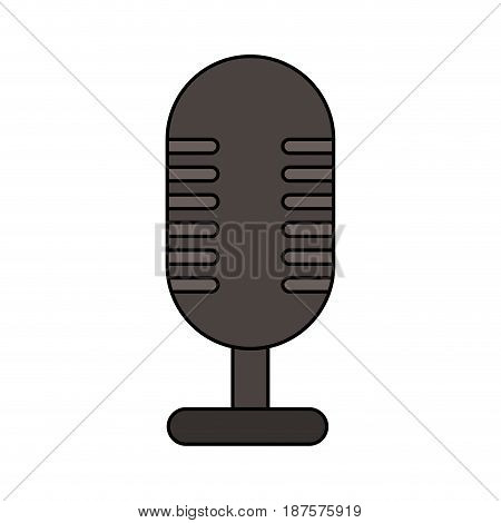 white background with desk microphone of fixed base vector illustration