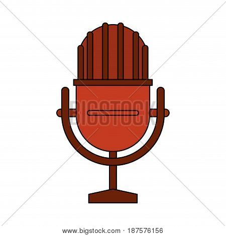 white background with studio microphone vector illustration