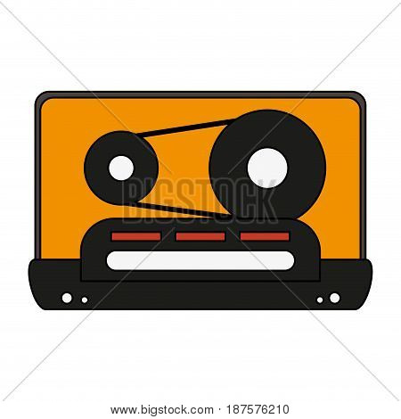white background with tape cassette vector illustration