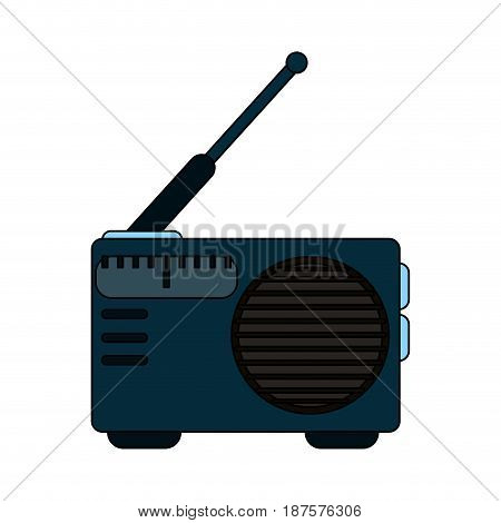 white background with portable radio vector illustration
