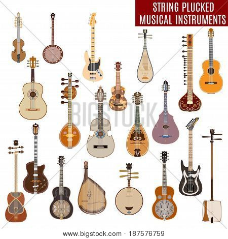 Vector set of string plucked musical instruments in flat design. Vector illustration of guitars other instruments isolated on white background.