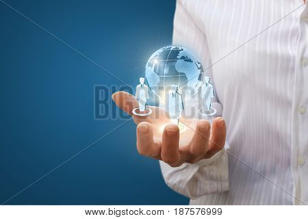 Global Business Team In Hand Businessman.
