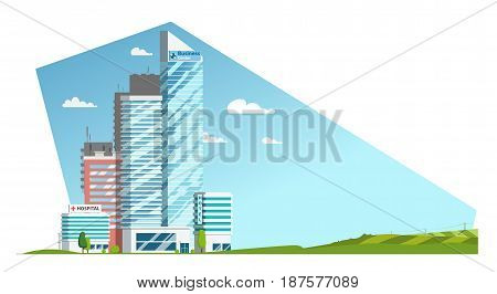 Landscape. Skyscrapers and countryside.Hospital, hotel and Business center. Long Banner