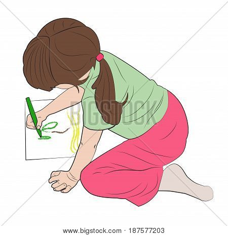 Little girl draws a picture sits on her lap. Vector illustration