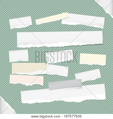 Ripped white note, notebook, copybook strips stuck on squared green background and paper on corners