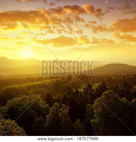 Sunrise in a beautiful landscape of Czech-Saxony Switzerland.