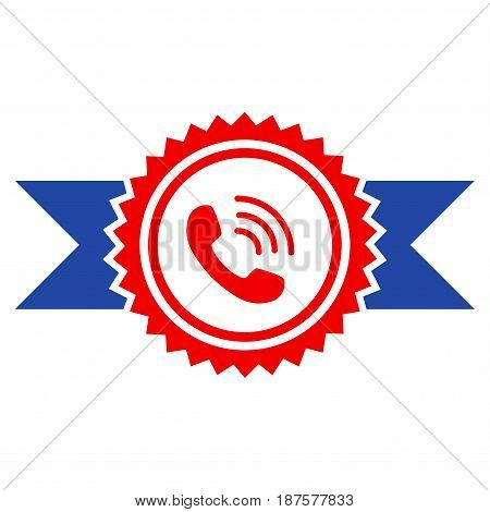 Call Center Stamp With Ribbons flat vector icon. An isolated illustration on a white background.