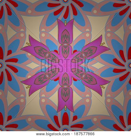 Multicolor ornament of small simple red and pink flowers vector abstract seamless pattern for fabric or textile design.