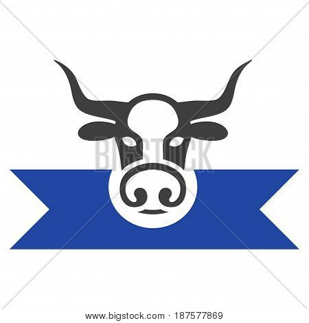Cow Award Ribbons flat vector pictogram. An isolated illustration on a white background.