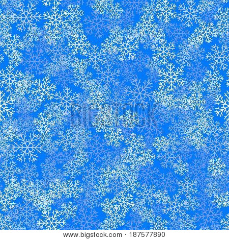 Showflakes Pattern on Blue Sky Background. Winter Christmas Natural  Texture
