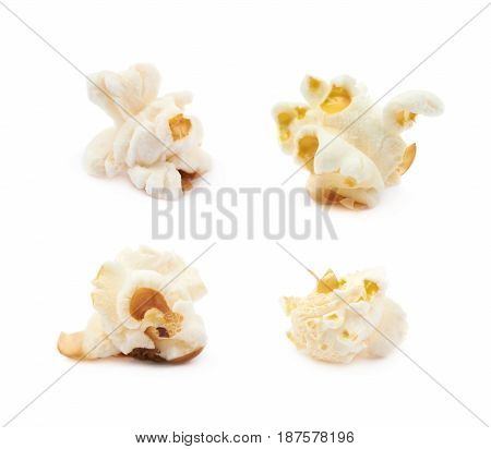 Cooked popcorn flake isolated over the white background, set of four different foreshortenings
