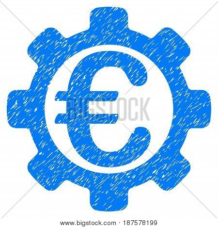 Grunge Euro Options icon with grunge design and dirty texture. Unclean vector blue pictogram for rubber seal stamp imitations and watermarks. Draft sign symbol.