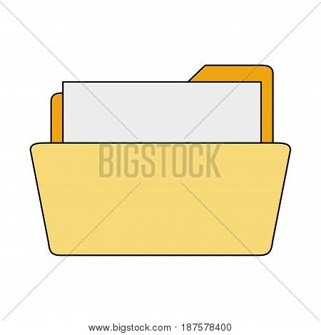 white background with opened folder with sheet vector illustration