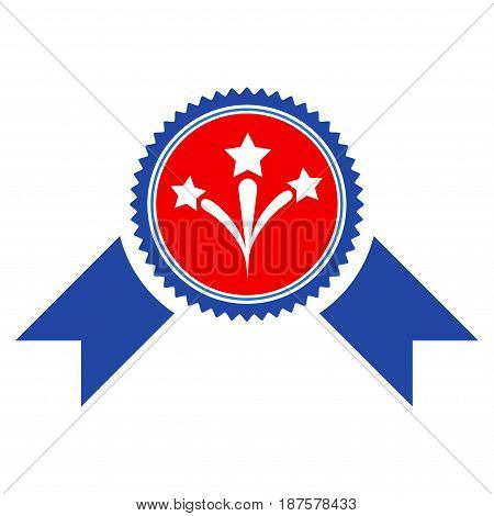 Pyrotechnics Award Seal flat vector pictograph. An isolated illustration on a white background.