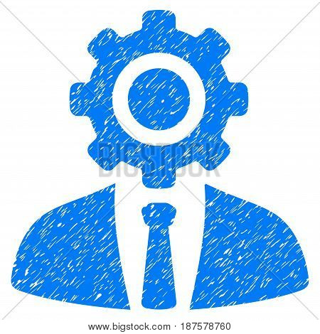 Grunge Worker icon with grunge design and scratched texture. Unclean vector blue pictogram for rubber seal stamp imitations and watermarks. Draft emblem symbol.