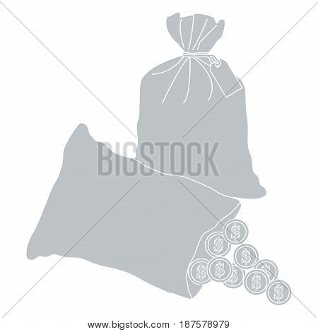 Stylized Icon Of A Knotted Bag With Money And Open Bag With Pours Coins.