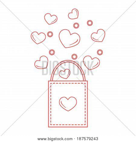 Cute Vector Illustration Of Gift Bag With Hearts. Design For Banner, Flyer, Poster Or Print.