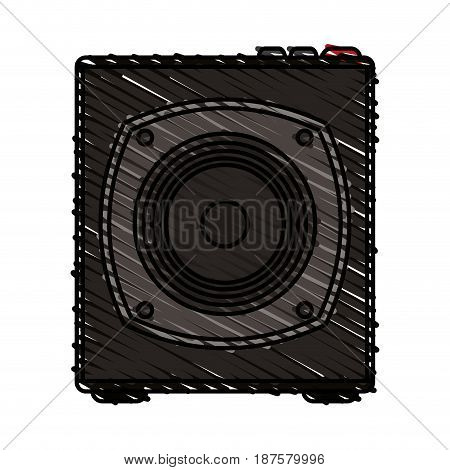 colorful crayon silhouette of portable loudspeaker vector illustration