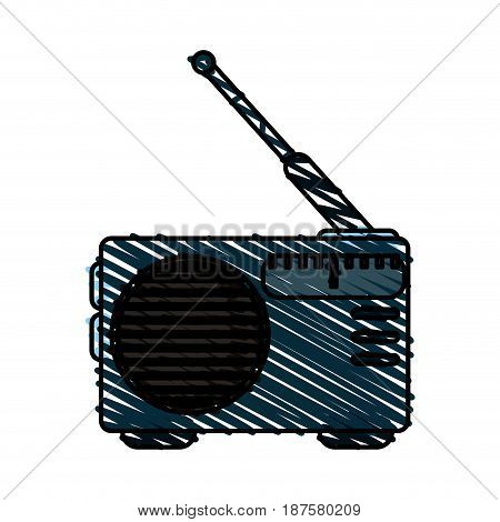 colorful crayon silhouette of portable radio vector illustration