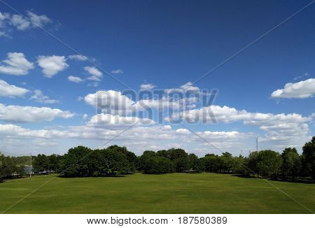 Beautiful park with a cropped lawn and neat trees against the blue sky and white clouds. Golf course on a sunny clear day
