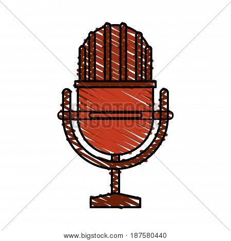 colorful crayon silhouette of studio microphone vector illustration